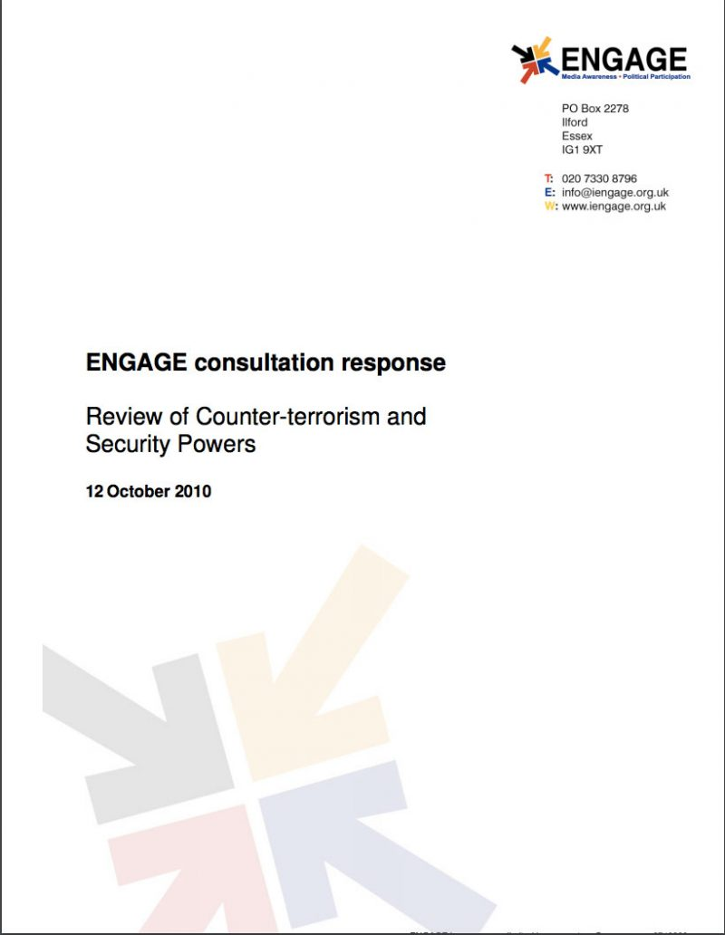 Consultation Response on Review of Counter-terrorism and Security Powers (2010)