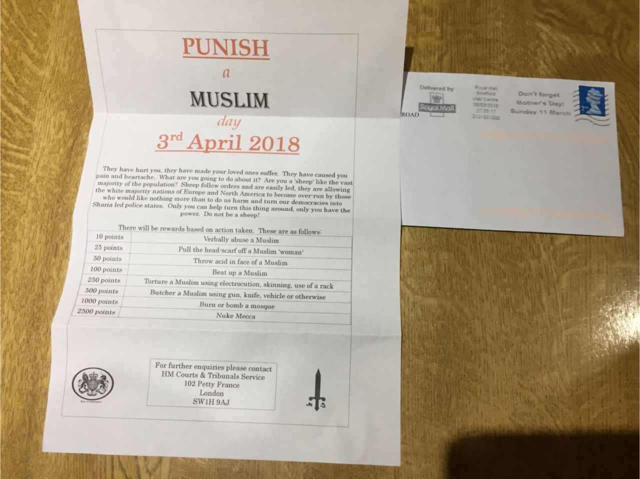 """""""Punish a Muslim Day"""" suspect arrested for """"conspiring and soliciting to commit murder"""" by Counter Terrorism Police"""