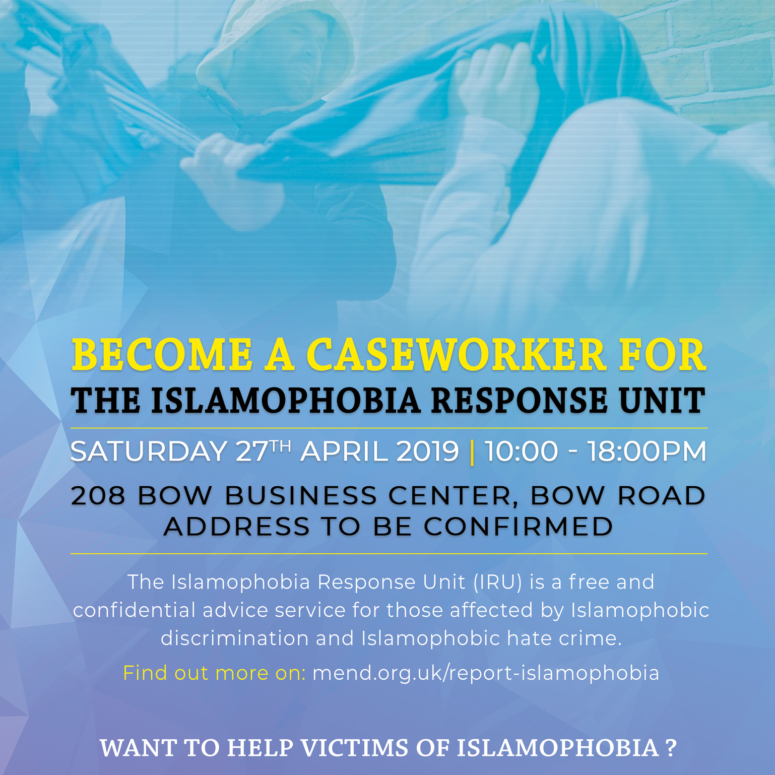 Become a caseworker for the Islamophobia Response Unit