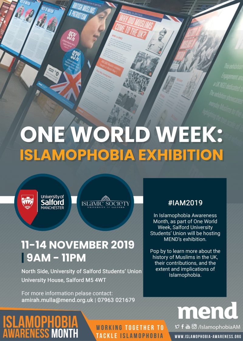 One World Week: Islamophobia Exhibition at University of Salford